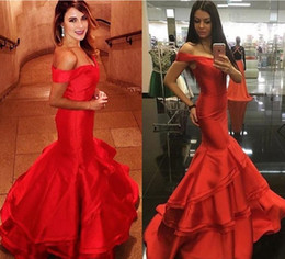 Wholesale Tiered Ruffled White Halter Dress - vestidos de fiesta 2017 New Red Mermaid Prom Dresses Sexy Off Shoulder Tiered Ruffles Sweep Train Formal Evening Gowns Red Carpet Gown