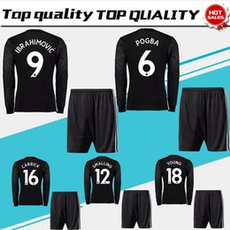 Wholesale POGBA Long Sleeve Soccer Jersey suit LUKAKU away black soccer shirt kit RASHFORD Football uniforms MARTIAL BLIND shirt shorts