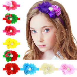Wholesale Shabby Puff Flower - Stain Rosebud Flowers Headband Handmade Rolled Puff Rosette Hair Bands Shabby Chiffon Lace Flower Boutique Supply Hair Accessory