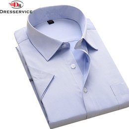 Wholesale Formal Dresses Large Sizes - Wholesale- DRESSERVICE Plus Large Size 5XL 6XL 7XL 8XL Men New Summer 2017 Short Sleeve Twill Pure Color Business Dress Shirts Formal
