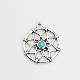 Подвески для тибетских ювелирных изделий онлайн-Wholesale-6pcs Tibetan Silver Plated Dreamcatcher Charms Pendants for Jewelry Making DIY Handmade Craft 31x27mm