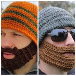 Barba da tampa do crânio on-line-Homens e Mulheres de Ciclismo Snowboard Barba Gorro Bigode Máscara Facial Tampas de Inverno Quente Chapéu De Malha Crânio Cap