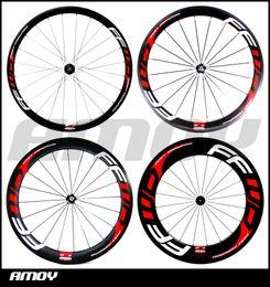 Wholesale road bike tubular - Free shipping carbon 38 50 60 88mm Clincher wheels with FFWD F4R F5R F6R F9R paint 700C full carbon road bike wheelset