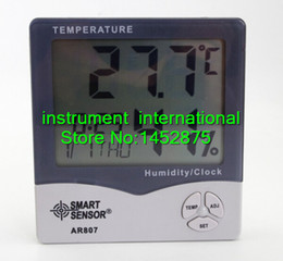 Wholesale Smart Sensor Thermometer - Wholesale- Smart Sensor AR807 Digital Hygrometer Thermometer Wet and Dry Thermometer Meter With Calendar & Clock Alarm