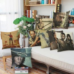 Wholesale Walking Dead Fabric - 45cm 90g The Walking Dead Cotton Linen Fabric Throw Pillowcase 18inch Fashion Hotal Office Bedroom Decorate Sofa Chair Cushion cover