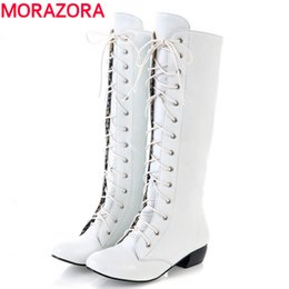 Wholesale lace up red boot wedges - Wholesale-MORAZORA 2016 new fashion knee high boots lace up sexy low heels comfortable high quality autumn winter women boots