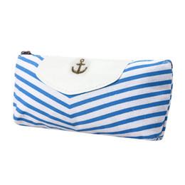 Wholesale Envelope Case - Wholesale- flama 2017 New Fashion Women Bags Navy Canvas Envelope Pen Pencil Case Coin Purse Pouch Female Ladies Bag bolsas Women's purse