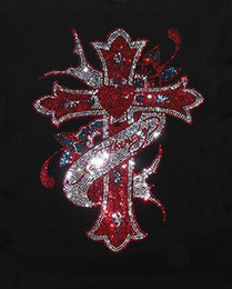 Wholesale Rhinestone Cross Iron Transfer - 2017 CROSS new hot fashion clothing,Garment,Shoes Cute hotfix rhinestones heat transfer design iron on motifs patches,rhinestone applique.