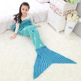 Wholesale White Knitted Throw - Hot Christmas Mermaid Blanket Kids Knitted Sleeping Bag Sofa Falbala Mermaid Tail Bed Throw Blanket