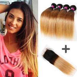 Wholesale Dyed Brazilian Hair Lace Closure - Brazilian Virgin Straight Hair Ombre Human Hair Bundle Blonde Lace Closure With Bundles Ombre Hair Bundles With Closure