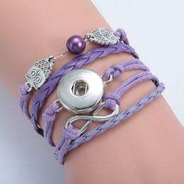 Wholesale Gold Anchor Wrap Bracelet - 2017 Bracelets Metal Interchangeable Button Jewelry DIY Infinity Leather Wrap Bracelet Butterfly Anchor Snap Charms Fashion Jewelry