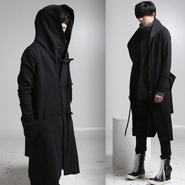 Wholesale Draped Hoodie - Wholesale- mens casual wool overcoat hooded fashion long trench coat men hip hop black long coat hoodie jacket