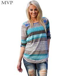 Wholesale Striped Plus Size Tee Shirts - Wholesale-Autumn Poleras T Shirt Women O-neck Long Sleeve Female T-shirt Striped Knit Tops Tees T-Shirts Plus Size S-XL