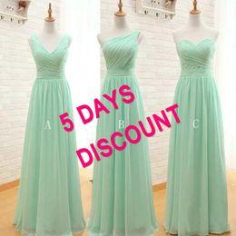 Wholesale Sweetheart One Shoulder Dress - Cheap Bridesmaid Dresses Mint Green Chiffon Custom Made V Neck One Shoulder Long Formal Wedding Guest Dresses Custom Made