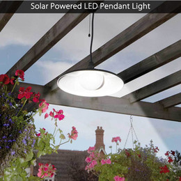 Wholesale Led For Street Lights - Solar Powered Pendant Lights LED Solar Shed Light Outdoor Garden Patio Light Solar Barn Light Remote Control Hanging Lamp for Indoor Outdoor