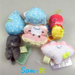"Wholesale Octopus Plush Animals - New Fun 6 Styles 3"" San-X Plush Doll Jinbei San Whale Shark Octopus Mini Marine Animals Mascots Keychains Pendants Soft Stuffed Toys"