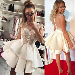 Wholesale Coral Short Homecoming Dress - Sexy Sheer Back Zipper Short Cocktail Dress With Appliques Tiered A-Line Mini Homecoming Dress Party Dress Club Wear Cheap Mini Evening Gown