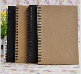 Wholesale Wholesale School Suppliers - Portable Business kraft papers Notepads black drawing sketch Notebook Spiral 100 sheets journal notebooks school office suppliers notes book