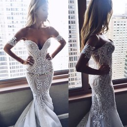 Wholesale Embroidery Trumpet Wedding Dress - Stunning Chic Embroidery Appliqued Mermaid Wedding Dresses 2017 Sexy Backless Off Shoulders Vestidos Custom Made Bridal Gowns Chic