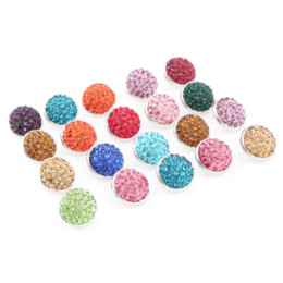 Wholesale Agate Mixed 12mm Beads - 30pcs lot Mixed 12mm 20mm Rhinestones crystal snap buttons with copper button for bracelets and necklace pendant jewelry ZL001