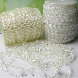 Wholesale Diy String For Beads - DIY Eight Sided Shape String Bead Plastic Transparent 30 Meters Connecting Beads For Wedding Stage Decoration Accessories Hot 16ad B R