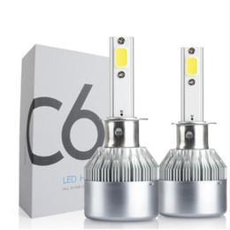 Faros kit 24v 12v online-2x Coche LED H1 72W C6 Kit de faros 7600Lm Bombillas de reemplazo a prueba de agua que estacionan 12V 24V DC Envío gratis