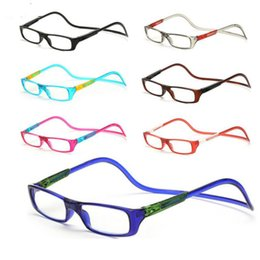 Wholesale Clear Reading - Magnetic Reading Glasses Men Women Clear Colorful Adjustable Unisex Hanging Neck presbyopic glasses +1.0 to +4.0