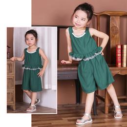 Wholesale Korea Girls Suits Sets - Hooyi Green Pleated Girls Clothes Sets Summer Sleeveless T-Shirt + Pants Suit Cotton Girl Jumpers Korea Fashion Top Singlet Vest