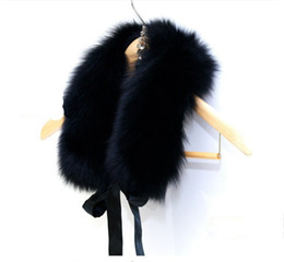 Wholesale Wholesale Fake Collar - Fur Collar Women New 2017 Winter Fashion Ladies Luxury Brand Fake Fox Faux Fur Scarf Shawl Scarves and Stoles 52CM Black White