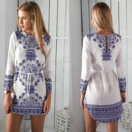 Wholesale Cocktail Dresses For Women - Hot Summer Sexy Women Long Sleeve Party Dress Evening Cocktail Casual Mini Dress Women Clothes Blue Floral Print Dress For Womens Clothing