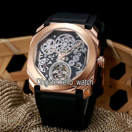 Wholesale Orange Skeleton - New 6 Style Luxury Brand Octo Finissimo Tourbillon 102719 Skeleton Automatic Mens Watch Rose Gold Rubber Strap High Quality Gent New Watches