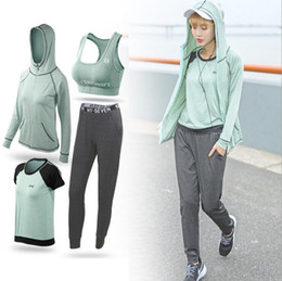 Wholesale Woman Casual Wear Set - 2017 Summer New Casual Sports Set Yoga Fitness Wear Lonely Slim Four-Piece Outdoor Training Running Wear Dry