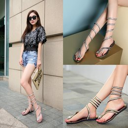 Wholesale Leather Lace Thong - Wrap Around Womens Sandals Lace-Up Crystal Rhinestone Thong Casual Roman Gladiator Women's Knee Surround Sandals C56Q