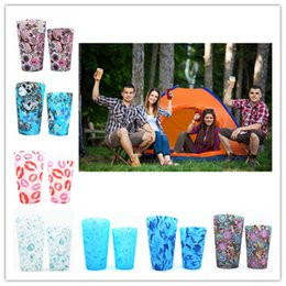 Wholesale Decoration Mug - Silicone Stemless Wine Glass Unbreakable Stemless Rubber Beer Mug Outdoor Cup Glass Wine Glass Recyclable Drinking Cups