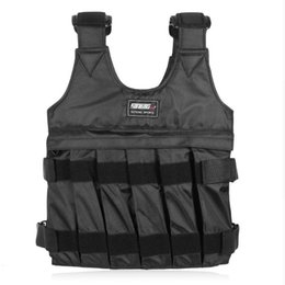 Wholesale Weight Vests - 50kg Max Loading Weighted Vest Boxing Training Thickening Exercise Waistcoat Durable Adjustable With 12 pcs Pouches Free Shipping