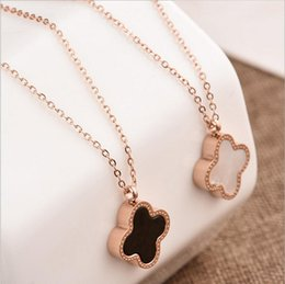 Wholesale double chain link necklace - Double Side Shell Clover Necklace Rose Gold Lucky Four Leaf Clover Pendant Chains fashoin jewelry for Women Drop Shipping
