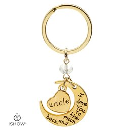 Wholesale Happy Promotions - New statement fashion jewelry i love you dad mom uncle son daughter letter family member key rings happy birthday keychains