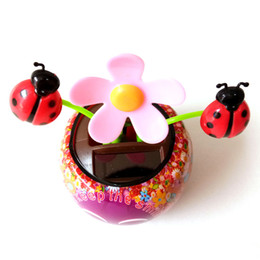 Wholesale Solar Vehicles - sunflower solar energy No batteries car swing decoration with ladybird plastic smile Sweet and lovely relax ornament