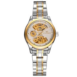 Wholesale Mechanical Hollow Sided - Automatic mechanical watch Korean business double - sided hollow design woman 's watches waterproof mechanical gifts watches