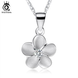 Wholesale Original 925 Silver Chain - ORSA JEWELS High Quality Original 925 Sterling Silver Flower Pendants&Necklaces Fashion Women Jewelry Christmas Gift SN45