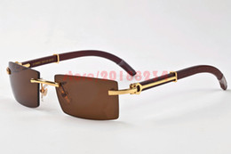 Wholesale Plain Fashion Glasses For Women - france designer brand rimless plain glasses wood legs buffalo horn glasses for men lunettes de soleil wood bamboo carving eyewear frames