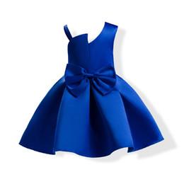 Robe de mariée avec une épaule en Ligne-Nouvelles robes de filles de fleur enfants une épaule mariée satin de mariage soirée robe de bal avec grand arc formelle robes d'anniversaire pour enfants