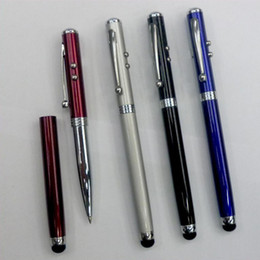 Wholesale Metal Stylus Capacitive Pen - 4in1 Capacitive Stylus Pen Laser Pointer Flashlight Samsung IPAD Ballpoint Pen Laser Capacitance Iphone4s Metal Touch Pen Laser Pointers