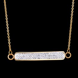 Wholesale Stainless Steel Rectangle Pendant - New Simple Style Gold Plated Rectangle Charm Pendant Collar 316L Stainless Steel CZ Stone Necklace For Christmas Gift