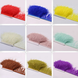 Wholesale Ostrich Feathers Trimming - 50m lot Ostrich feather lace trim 10-15cm long tassel fringe DIY Feather fabric wedding dress Performance garment accessories