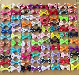 Wholesale Dog Apparel Hair - 1000PCS lot Wholesale handmade colorful mix small bows Dog Puppy cat Pet Bow Hairpins Hair Clips Grooming barrette Apparel accessories PD036