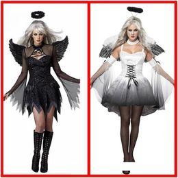 2019 vestido princesa halloween mulheres neve branco Dia das bruxas preto e branco anjo Vampire Devil Party cosplay dress mulheres plus size Masquerade mostrar tema traje cocar ala define ternos