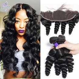 Wholesale Loose Wave Brazilian Hair - 8A Brazilian Loose Wave Human Hair 3 Bundles With Frontal Brazilian Virgin Hair Bundles Loose Curly Weave Hair Bundles with Lace Frontal