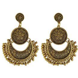 Wholesale Exotic Tassels - Fashion Vintage Exaggerated Tassel Earrings Exotic Charm Ethnic Bali Brocade Lotus Mexico Gypsy Dangle Earrings European Fashion