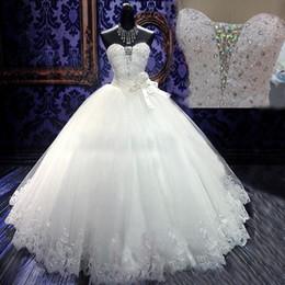 vestidos de comprimento corset Desconto Cristais cintilantes vestido de baile vestido de casamento querida mangas lantejoulas tule apliques de renda vestidos de noiva de comprimento total com espartilho
